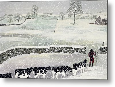 Cotswold - Winter Scene Metal Print by Maggie Rowe