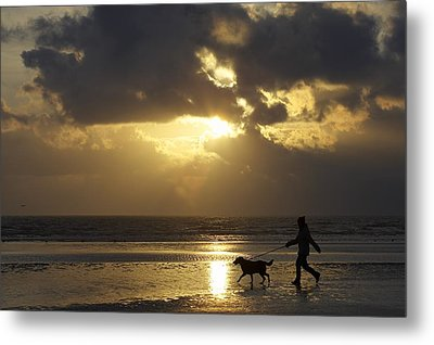 County Meath, Ireland Girl Walking Dog Metal Print by Peter McCabe