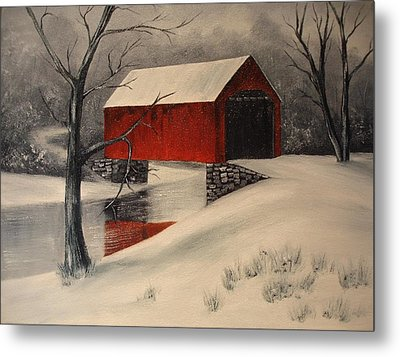 Covered Bridge In The Snow Metal Print by Rosie Phillips
