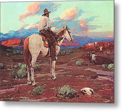 Cowboy Country Metal Print by Pg Reproductions