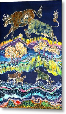 Cows Jumping Over The Moon Metal Print by Carol  Law Conklin
