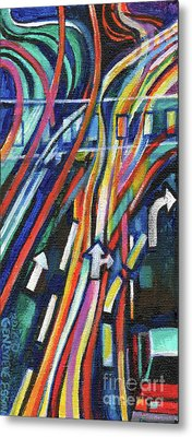 Creve Coeur Streetlight Banners Whimsical Motion 20 Metal Print by Genevieve Esson