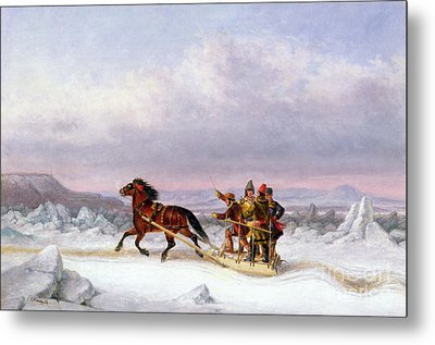 Crossing The Saint Lawrence From Levis To Quebec On A Sleigh Metal Print by Cornelius Krieghoff