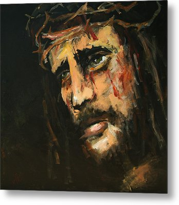 Crucified Jesus Metal Print by Carole Foret