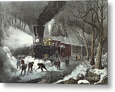 Currier And Ives Metal Print by American Railroad Scene