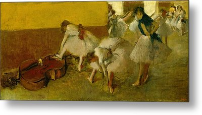 Dancers In The Green Room Metal Print by Edgar Degas