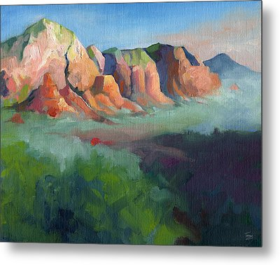 Desert Afternoon Mountains Sky And Trees Metal Print by Catherine Twomey