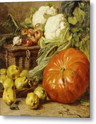 Detail Of A Still Life With A Basket, Pears, Onions, Cauliflowers, Cabbages, Garlic And A Pumpkin Metal Print by Eugene Claude