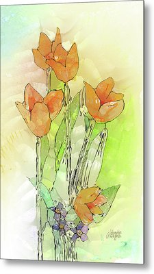 Digital Tulips Metal Print by Arline Wagner