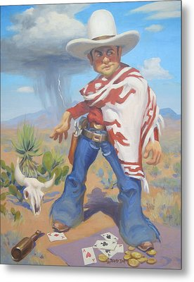 Don't Slap Leather With The Pecos Kid Metal Print by Texas Tim Webb