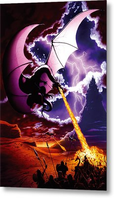 Dragon Attack Metal Print by The Dragon Chronicles - Steve Re