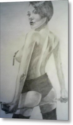 drawing of Vikki Blows Metal Print by James Dolan