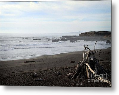 Driftwood And Moonstone Beach Metal Print by Linda Woods