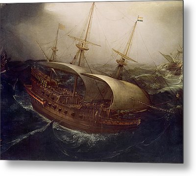 Dutch Battleship In A Storm Metal Print by Hendrick Cornelisz Vroom