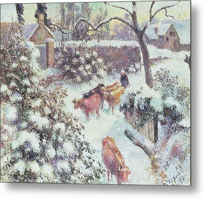 Effect Of Snow At Montfoucault Metal Print by Camille Pissarro