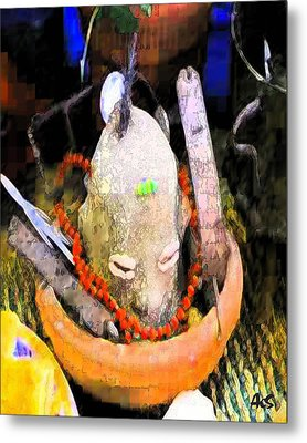Elegua By The Door Metal Print by Liz Loz