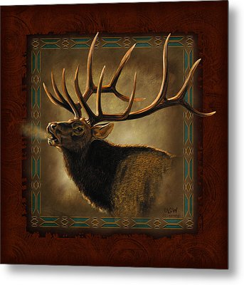 Elk Lodge Metal Print by JQ Licensing