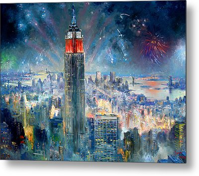 Empire State Building In 4th Of July Metal Print by Ylli Haruni