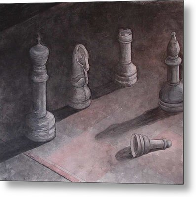 Fallen Chessman Metal Print by Sandy Clift