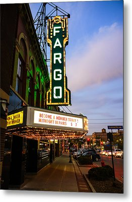 Fargo Theater And Downtown Along Broadway Drive Metal Print by Paul Velgos