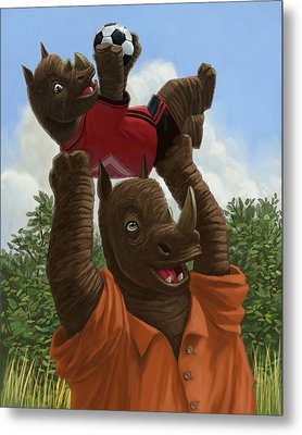 father Rhino with son Metal Print by Martin Davey