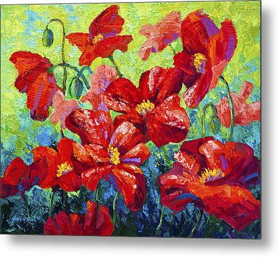 Field Of Red Poppies II Metal Print by Marion Rose