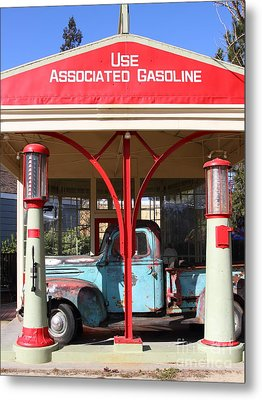 Filling Up The Old Ford Jalopy At The Associated Gasoline Station . Nostalgia . 7d12884 Metal Print by Wingsdomain Art and Photography