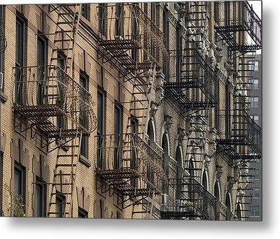 Fire Escapes On Brownstone Apartment Metal Print by Everett