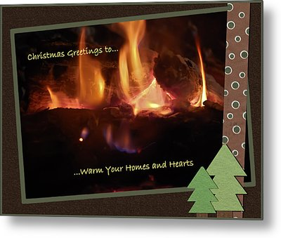 Fireside Christmas Greeting Metal Print by DigiArt Diaries by Vicky B Fuller