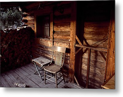 Firewood And A Chair On The Porch Metal Print by Joel Sartore