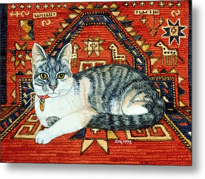 First Carpet Cat Patch Metal Print by Ditz