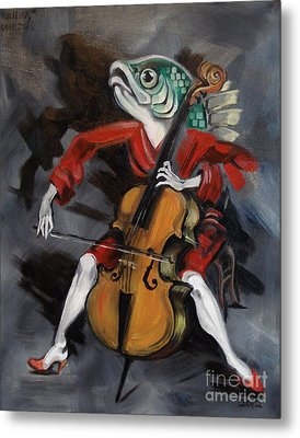 Fish Playing Cello Metal Print by Ellen Marcus