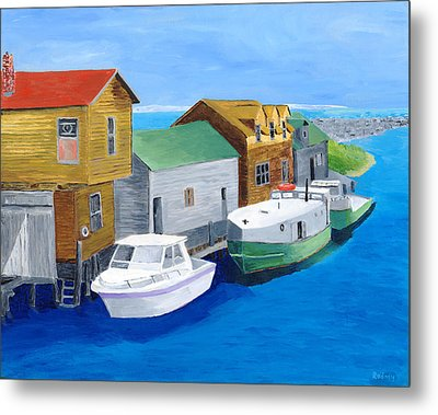 Metal Print featuring the painting Fishtown by Rodney Campbell