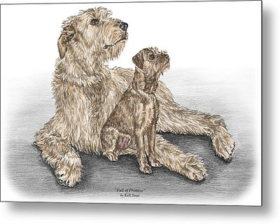 Full Of Promise - Irish Wolfhound Dog Print Color Tinted Metal Print by Kelli Swan
