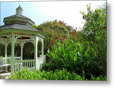 Gazebo Flower Garden Metal Print by Sheri McLeroy