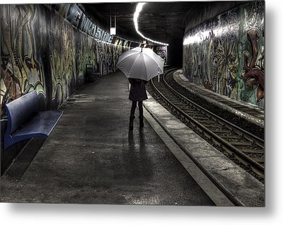 Girl At Subway Station Metal Print by Joana Kruse
