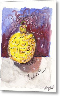 Gold Christmas Ornament Metal Print by Michele Hollister - for Nancy Asbell