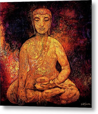 Golden Buddha Metal Print by Shijun Munns