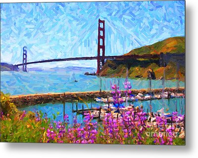 Golden Gate Bridge Viewed From Fort Baker Metal Print by Wingsdomain Art and Photography