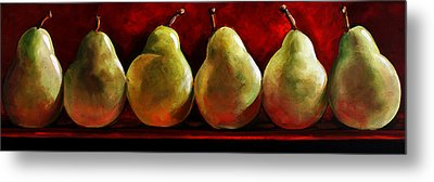 Green Pears On Red Metal Print by Toni Grote