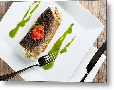 Grey Mullet With Watercress Sauce Presented On A Square White Plate With Cutlery And Napkin Metal Print by Andy Smy