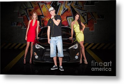 Group Of Young People Beside Black Modern Car Metal Print by Jorgo Photography - Wall Art Gallery