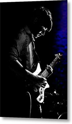 Guitar Man In Blue Metal Print by Meirion Matthias