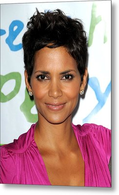Halle Berry At Arrivals For Silver Rose Metal Print by Everett