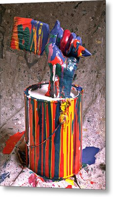 Hand Coming Out Of Paint Can Metal Print by Garry Gay