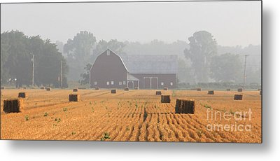 Hay Bales And Red Barn At Sunrise Metal Print by Jack Schultz