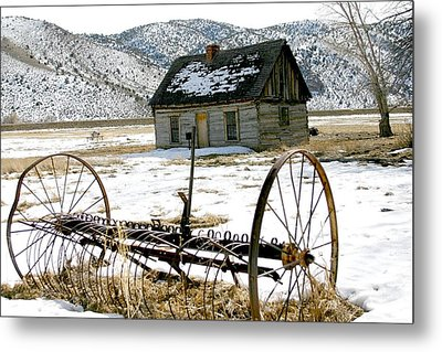 Hay Rake At Butch Cassidy Metal Print by Nelson and Cheryl Strong