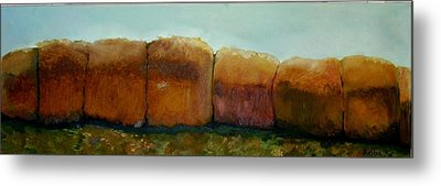 Haybales Metal Print by Judy  Blundell