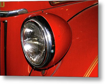 Headlamp On Red Firetruck Metal Print by Douglas Barnett