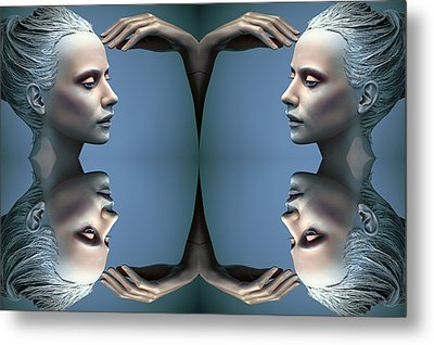Heads As One Thought Metal Print by Jez C Self